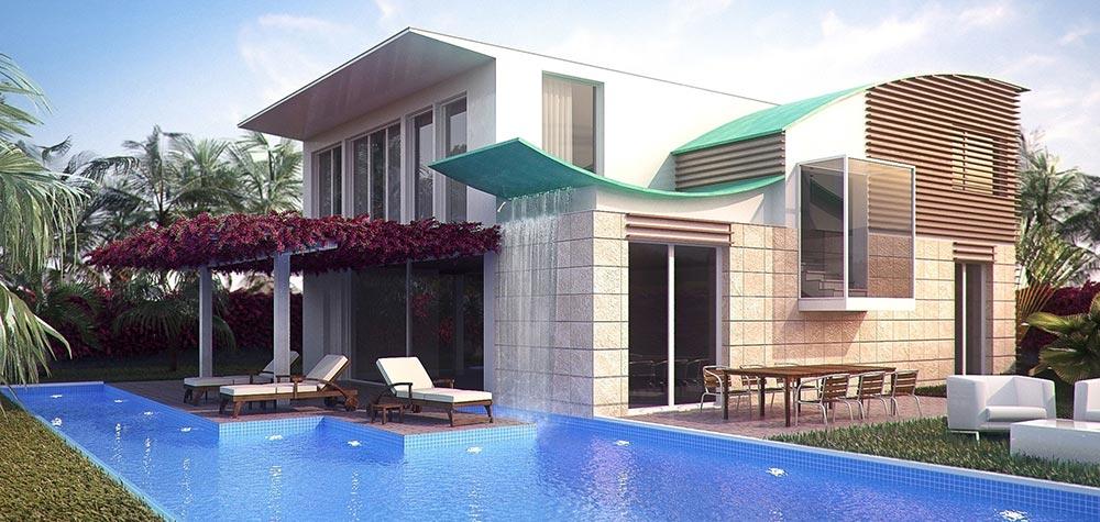 مدل سازی خانه با استخر در تری دی مکس